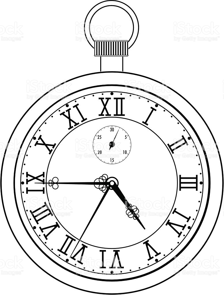 778x1024 Collection Of Roman Numeral Pocket Watch Drawing High