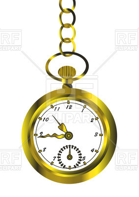 283x400 Retro Golden Pocket Watch Vector Image Vector Artwork Of Objects