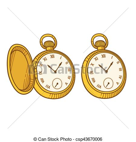 450x470 Antique Pocket Watch Illustration, Vintage Engraving Style.
