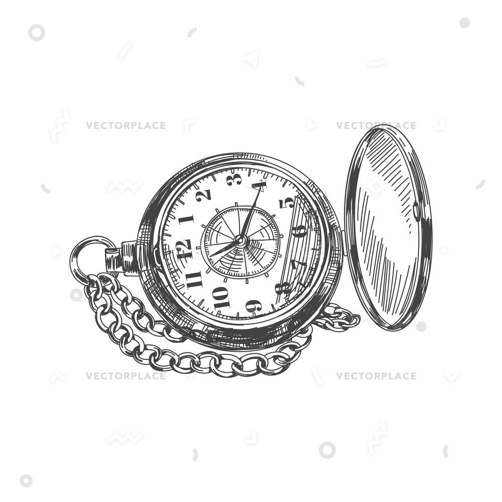1000x1000 Beautiful Hand Drawn Vintage Pocket Watch Vector Illustration