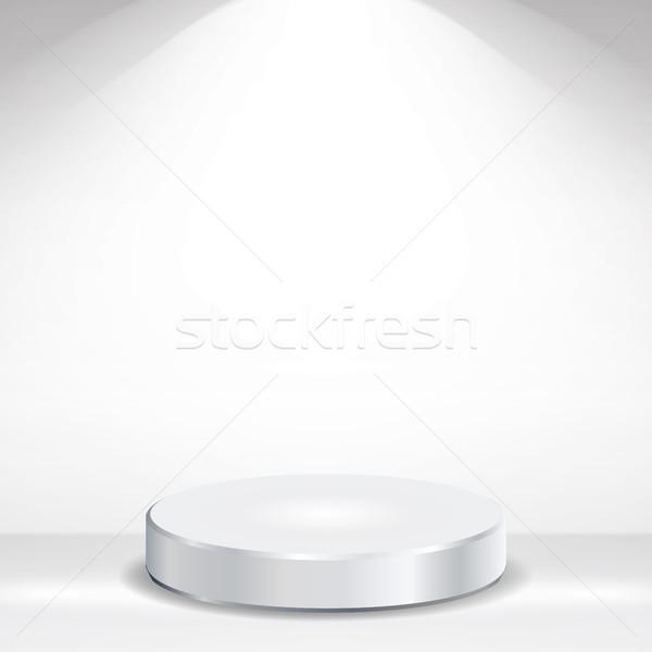 600x600 3d Empty Podium Vector. Round Empty White Podium On Clean Light