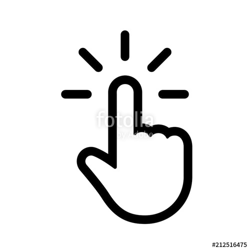 500x500 Hand Clicking Icon, Click Pointer Vector Stock Image And Royalty