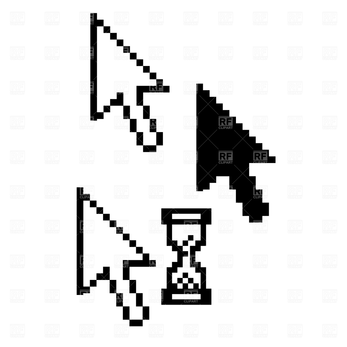 1200x1200 Mouse Pointer With Hourglass Icons Vector Image Vector Artwork