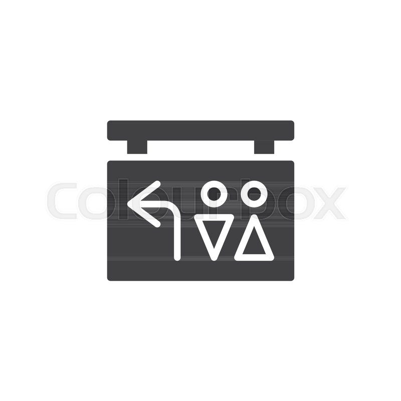 800x800 Toilet Direction Pointer Vector Icon. Filled Flat Sign For Mobile