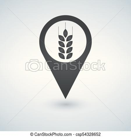 450x470 Wheat Field Icon On Map Pointer. Vector Illustration.