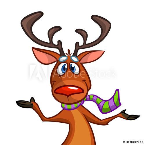 500x500 Happy Cartoon Christmas Rudolph Reindeer Pointing Hand. Vector