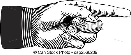 450x189 Pointing Hand. Hand With Pointing Finger.