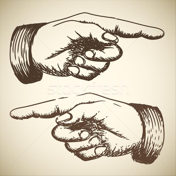 600x600 Vector Retro Vintage Pointing Hand Vector Illustration Petr