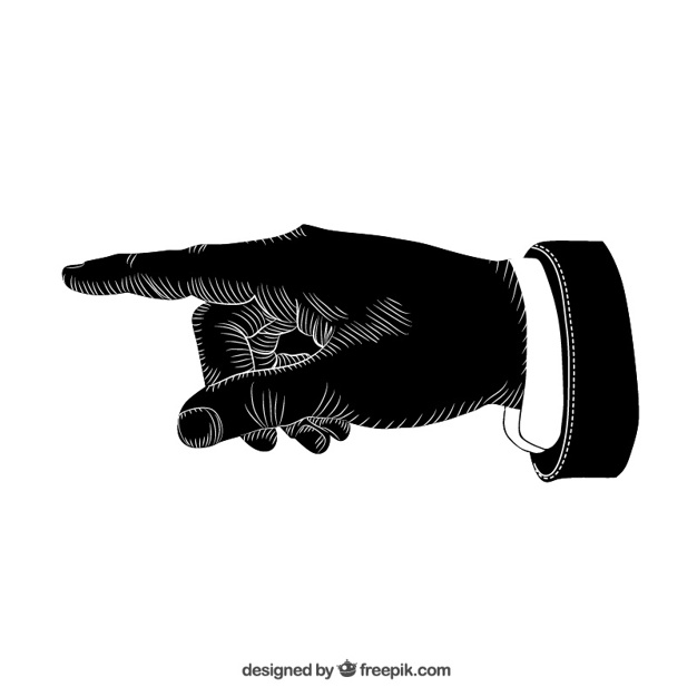 626x626 Black Pointing Hand Vector Free Download