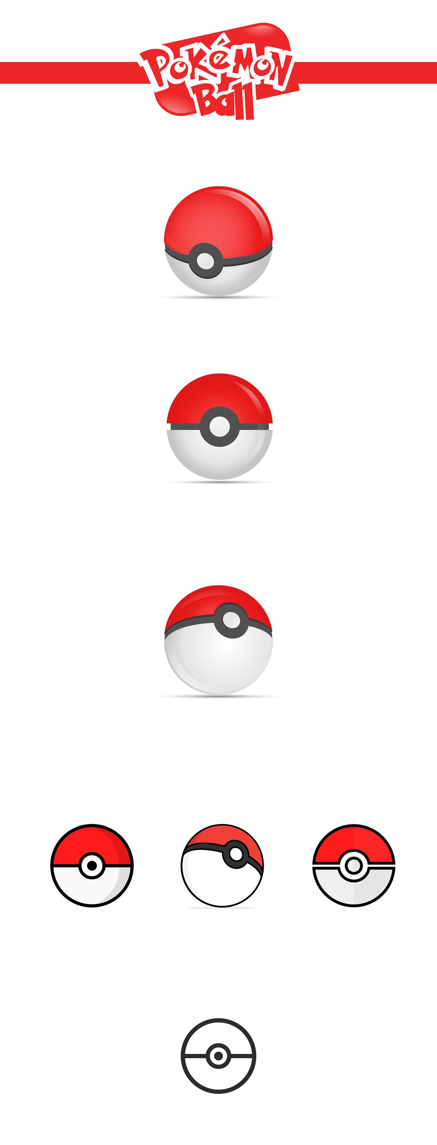 1400x3665 Pokemon Ball Freebie Vector On Behance