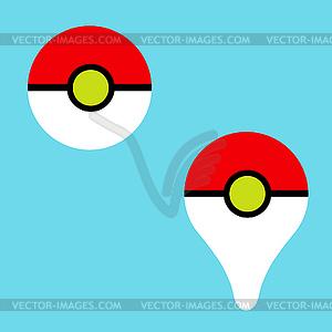 300x300 Pokeball Icon Game Pokemon Go On Blue Background