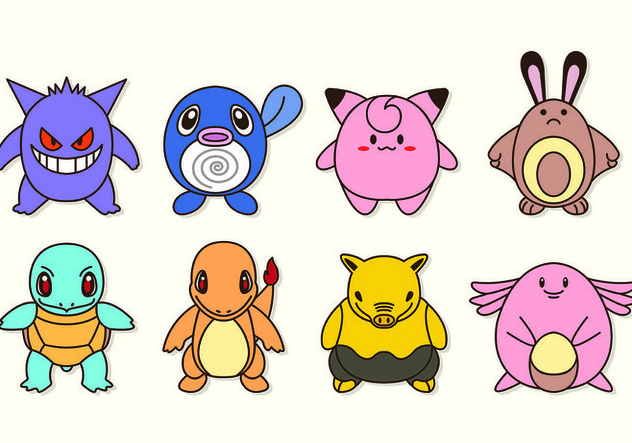 632x443 Set Icon Characters Of Pokemon Free Vector Download 426637 Cannypic