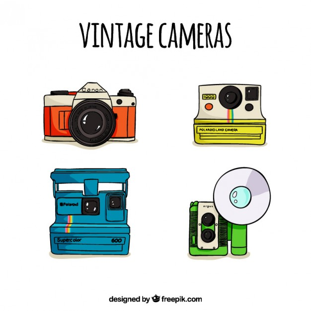 626x626 Hand Drawn Cute Polaroid Cameras Vector Free Download