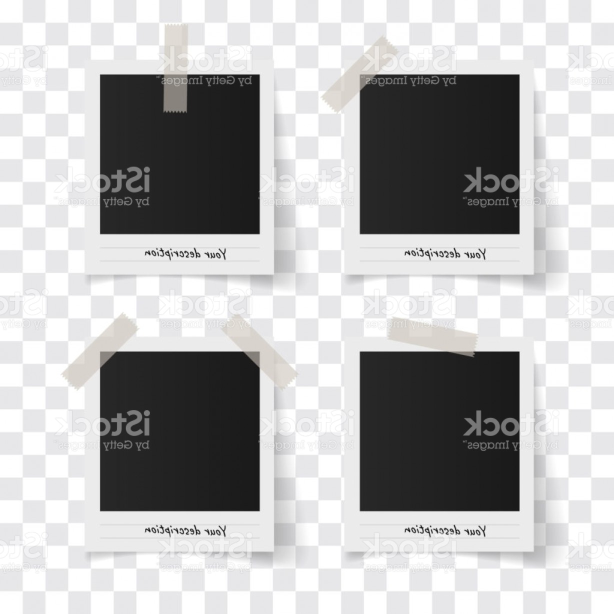 1228x1228 Set Of Polaroid Vector Photo Frames On Sticky Tape On A