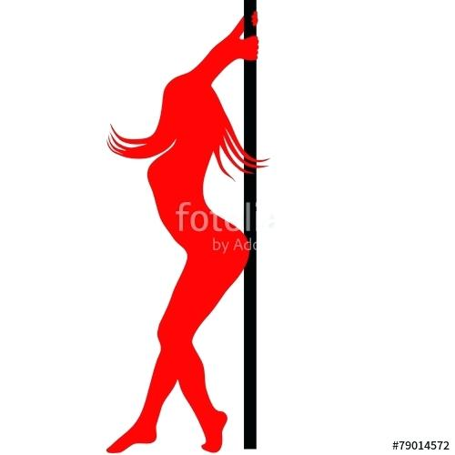 500x500 Pole Dance Silhouette Pole Dancer Silhouette Vector Illustration