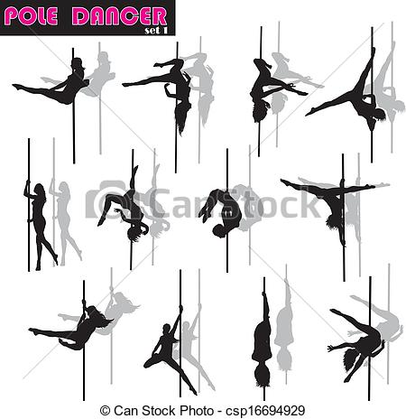 450x464 Pole Dancer Set. Pole Dancer Woman Vector Silhouettes Set