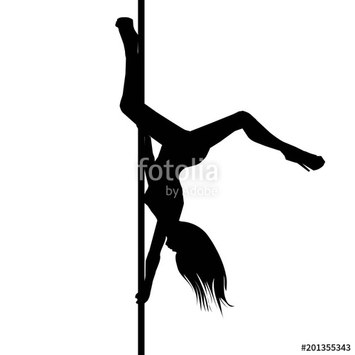 500x500 Vector Silhouette Of Girl And Pole On A White Background. Pole