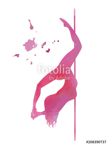 375x500 Vector Pole Dance Element Cocoon Pink Silhouette Stock Image And