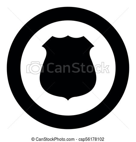 450x470 Police Badge Black Icon In Circle Vector Illustration Isolated