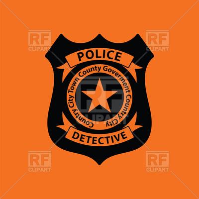 400x400 Police Badge Icon On Orange Background Vector Image Vector