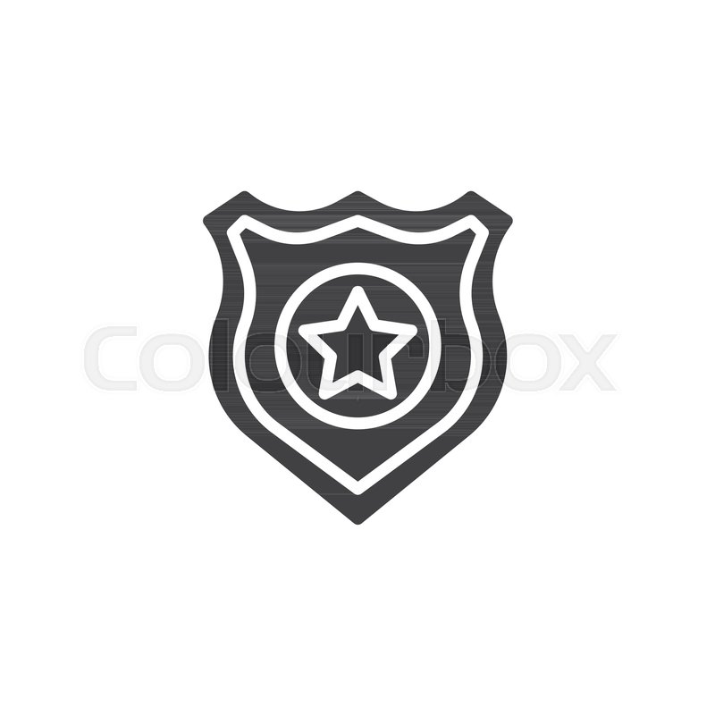 800x800 Police Badge Vector Icon. Filled Flat Sign For Mobile Concept And