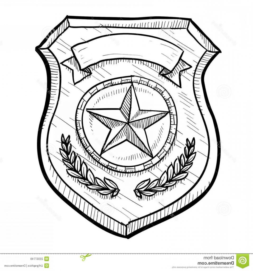 958x1024 Full Police Badge Drawing Amazing Or Firefighter Sketch Stock