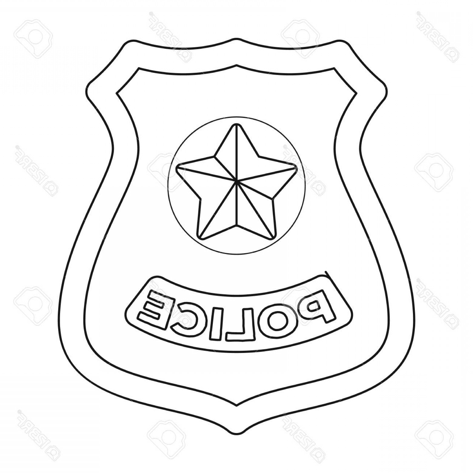 1560x1560 Photostock Vector Police Badge Icon In Outline Design Isolated On