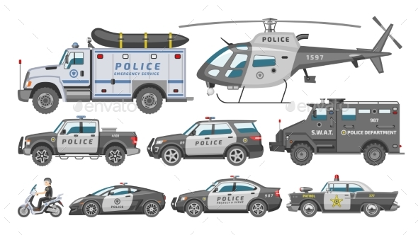 590x332 Police Car Vector Policy Vehicle Or Helicopter By Pantimetrok