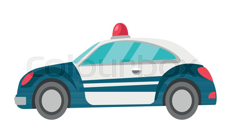 800x465 Police Car Vector Cartoon Illustration Isolated On White