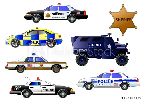 500x354 Police Cars, Vector Set. Armored Police Truck, Sheriff Badge, Cars