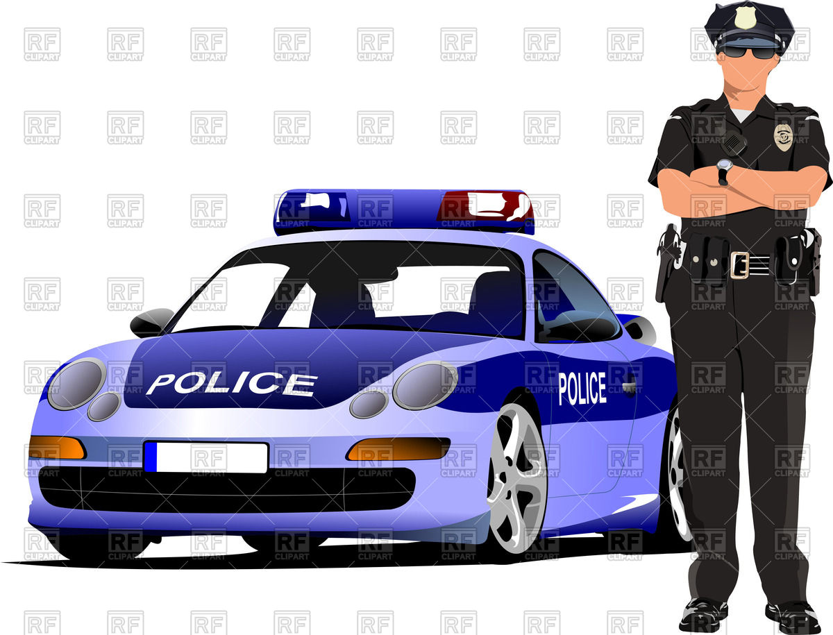1200x915 Police Officer With Hands Crossed On Chest Stands Near Police Car