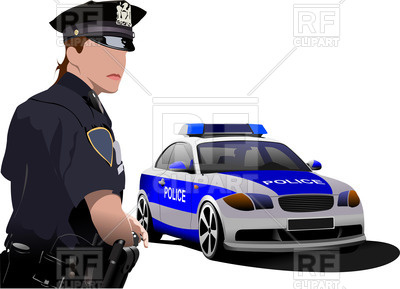 400x289 Policewoman Stands Near Police Car Vector Image Vector Artwork