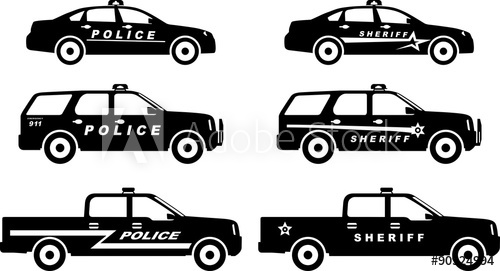 500x271 Set Of Different Silhouettes Police And Sheriff Cars. Vector