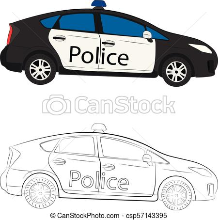 450x454 The Police Car Vector Drawing Illustration.