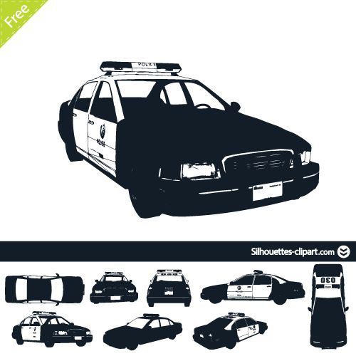 500x500 Us Police Car Vector Silhouettes Silhouettes Clipart