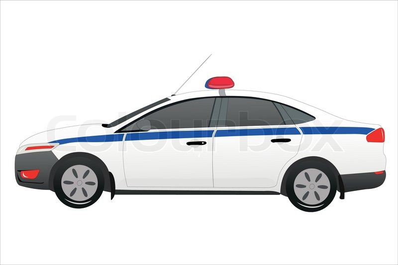 800x533 Vector Illustration Of Police Car Under The White Background