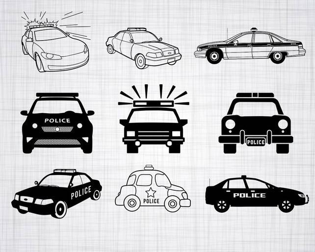 642x514 Police Car Svg Bundle Police Car Svg Police Car Clipart Cut Etsy