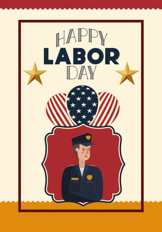 626x893 Happy Labor Day Card With Police And Usa Flag Vector Premium
