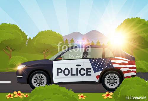 500x340 Police Car In The Nature With American Flag Vector Illustration