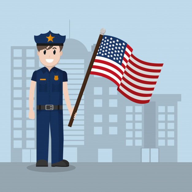 626x626 Police Officer With United States Flag Vector Premium Download