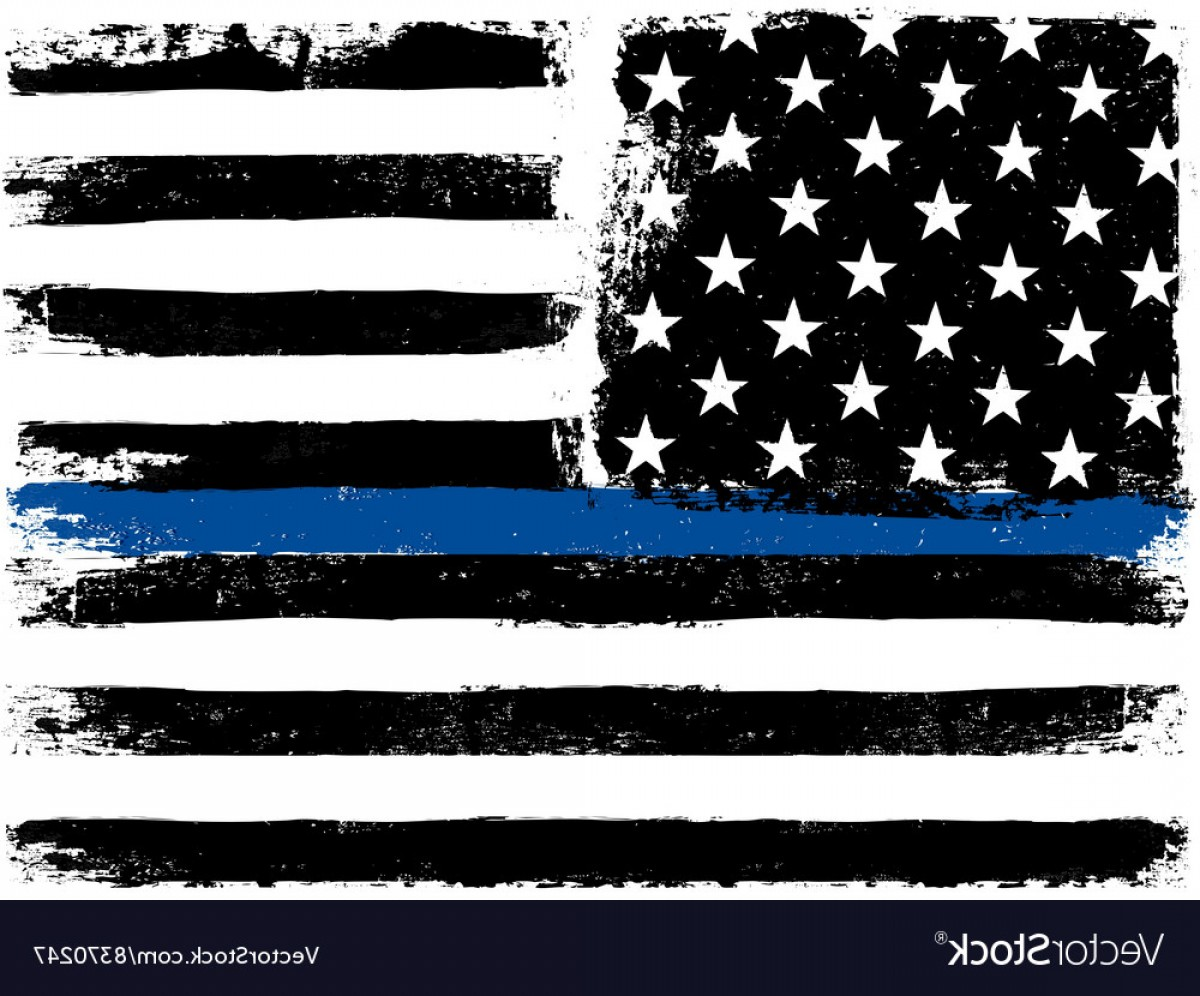 1200x996 American Flag With Thin Blue Line Grunge Aged Vector Orangiausa