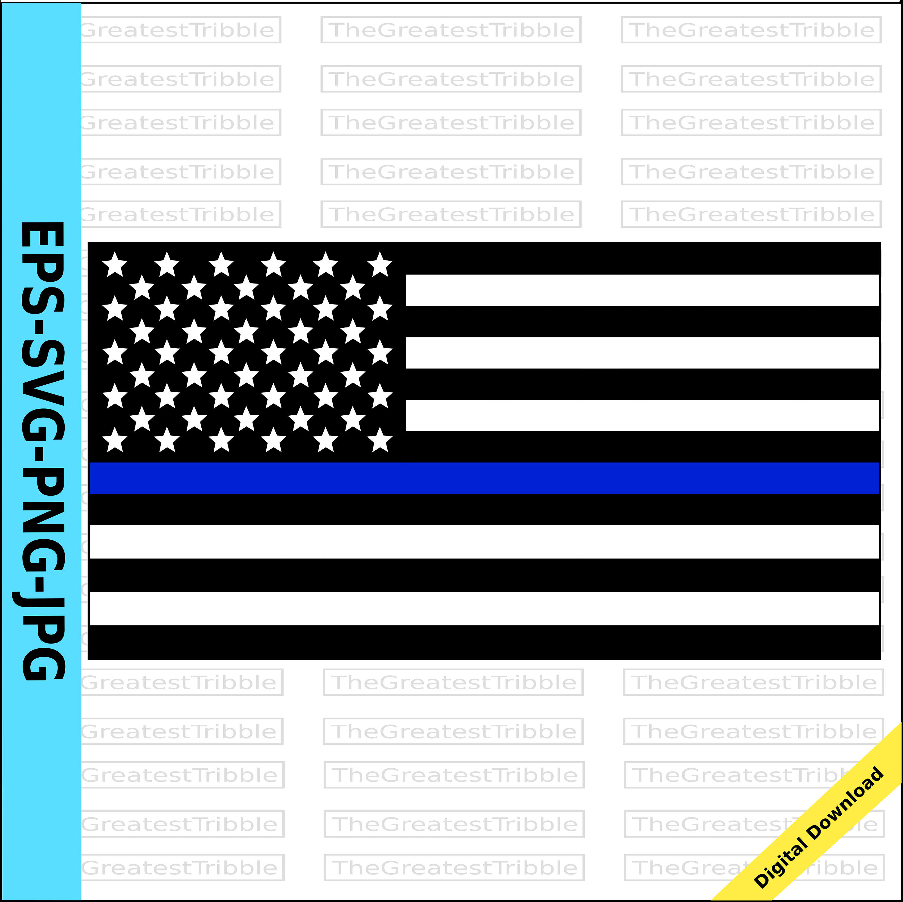 3000x2997 Thin Blue Line Black Flag With Police Vector 14147933 6