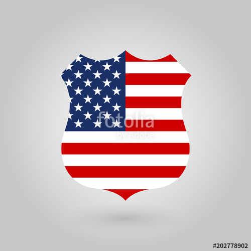500x500 Us Flag In The Shape Of A Police Badge. American Flag Icon. United
