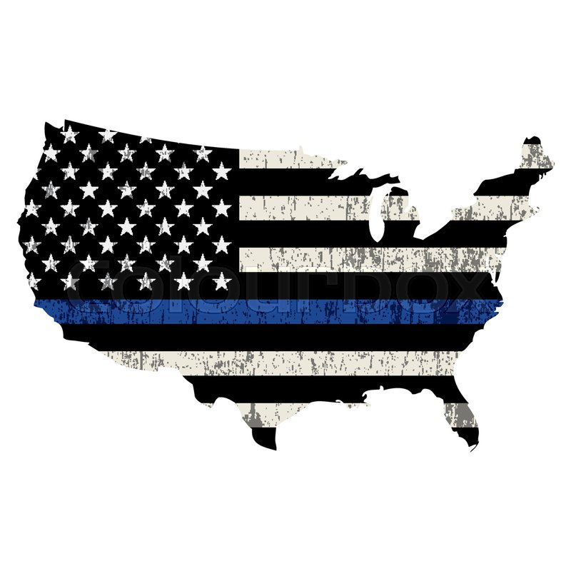 800x800 An Isolated Police Support Flag In The Shape Of The United States