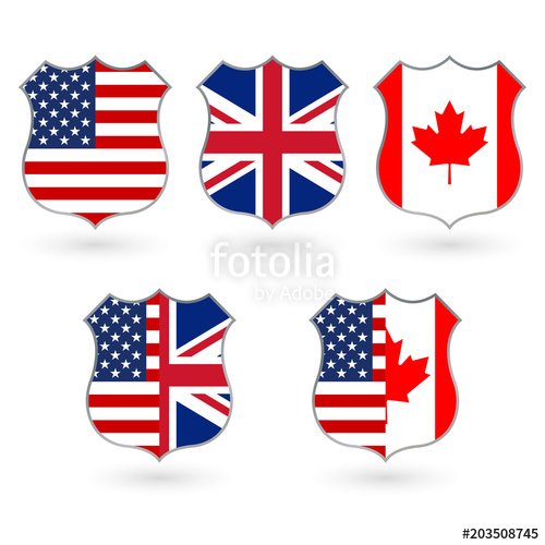 500x500 Flag Of Us, Canada And Uk In The Shape Of A Police Badge. American