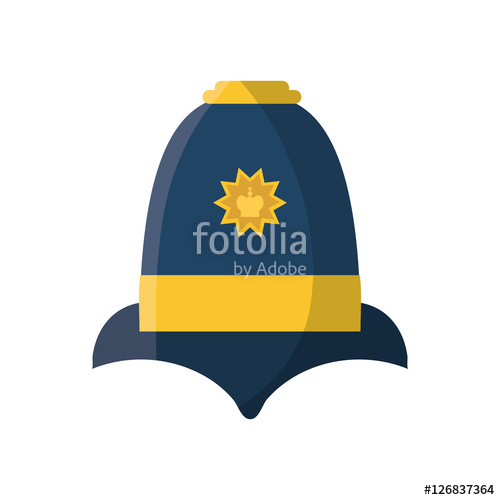 500x500 English Police Hat Icon Vector Illustration Graphic Design Stock