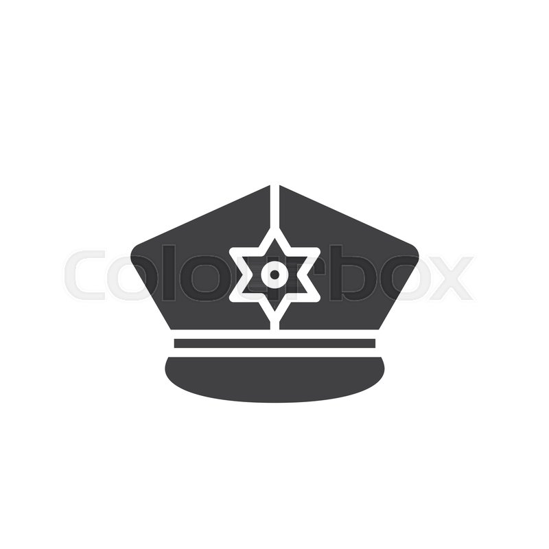 800x800 Police Hat Icon Vector, Filled Flat Sign, Solid Pictogram Isolated
