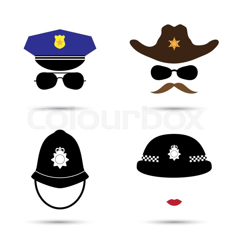 800x800 Set Of Colorful Vector Icons Isolated On White. Policeman Icon