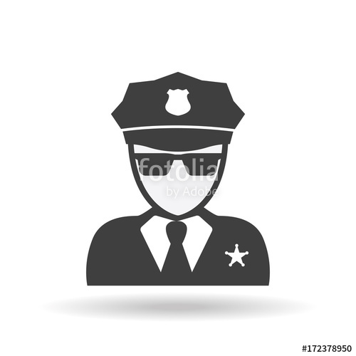 500x500 Police Icon Vector. Policeman Officer Avatar Illustration Stock