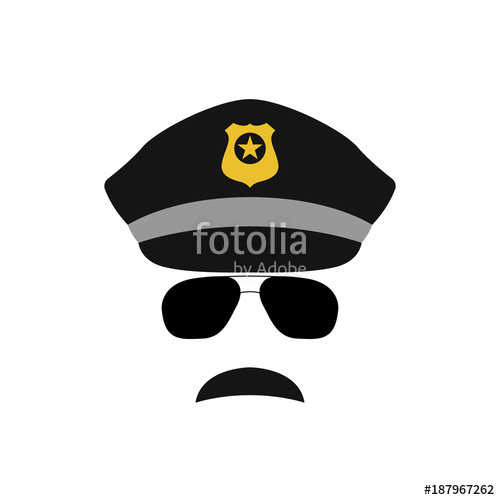 500x500 Police Officer Avatar Illustration. Trendy Policeman Icon In